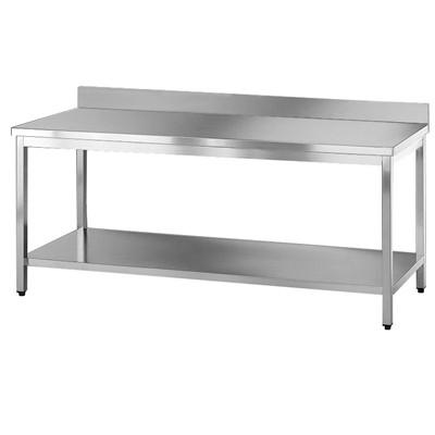 tavolo inox  con ripiano inferiore e alzatina